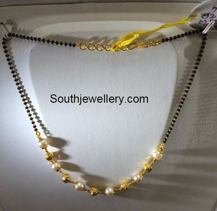 Simple Gold Mangalsutra Design 5 grams simple black beads mangalsutra - jewellery designs