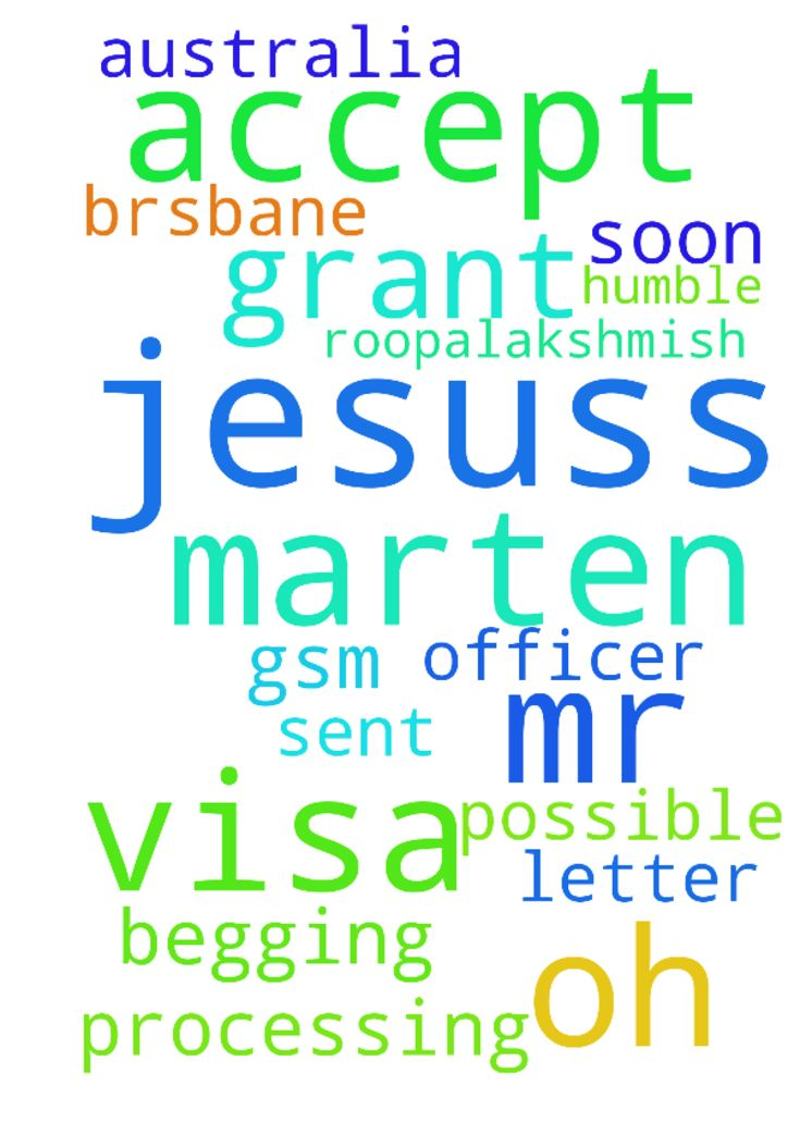 Oh my lord Jesuss Please Accept prayers   TO MR MARTEN - Oh my lord Jesuss Please Accept prayers TO MR MARTEN GSM BRSBANE VISA PROCESSING OFFICER As soon as possible Please please please Sent our AUSTRALIA VISA GRANT LETTER ITS MY HUMBLE BEGGING request ROOPALAKSHMISH. Jesuss. Posted at: https://prayerrequest.com/t/rQh #pray #prayer #request #prayerrequest
