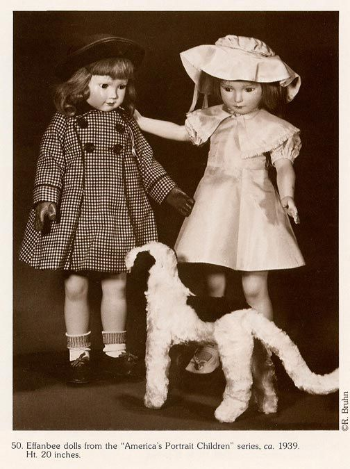 A pair of dolls from the America's Children series (left: Gloria Ann, right: name unknown), designed by Dewees Cochran, originally advertised in Life magazine, United States, 1939, by Effanbee Doll Company. From a 1982 catalog for The Doll Show exhibition put on by the Nebraska State Historical Society with the support of the Junior League of Lincoln. Dolls from the collection of and donated by Elizabeth Gaylord Rathburn to the NSHS.