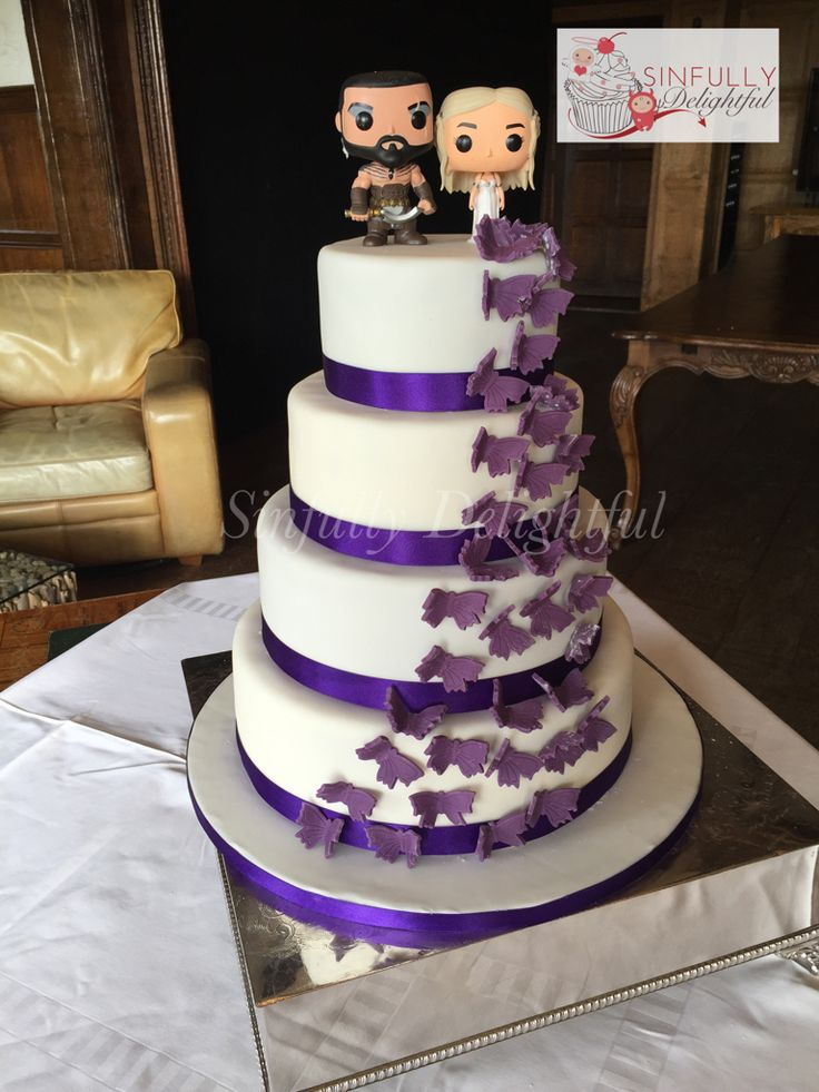 Cascading Purple Erfly Wedding Cake With Of Thrones Toppers