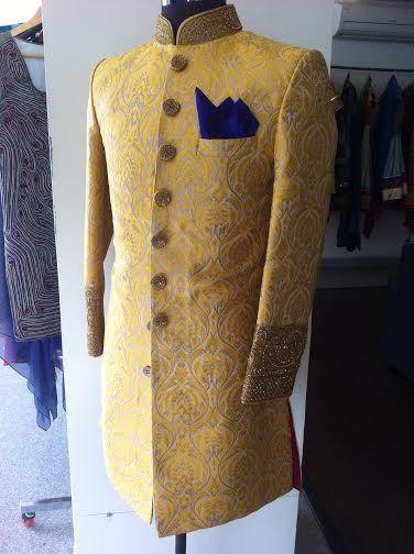 mustard yellow sherwani by sagar tenali.
