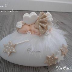 Veilleuse led bébé fimo thème fée en beige