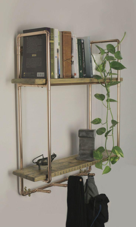 Tall 2 shelf 15mm copper pipe unit and coat hooks