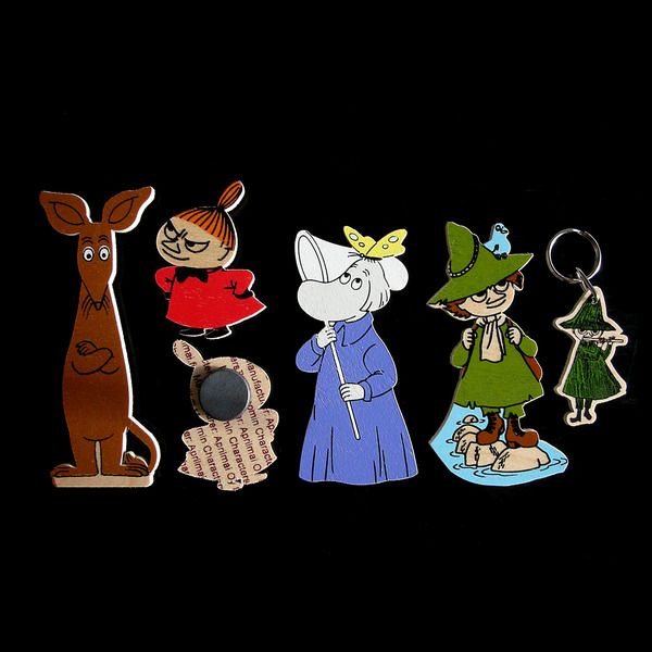 Moomin magnet set 2. This set includes the following characters: Sniff, Hemulen, Snufkin, Little My and Snufkin.