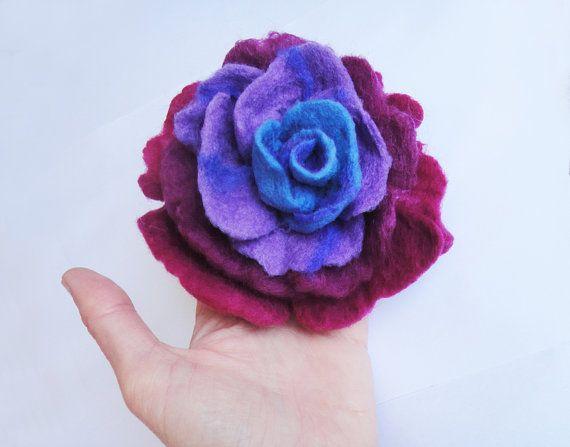 felt rose flower brooch felted rose fiber art brooch by evalinen, $18.00