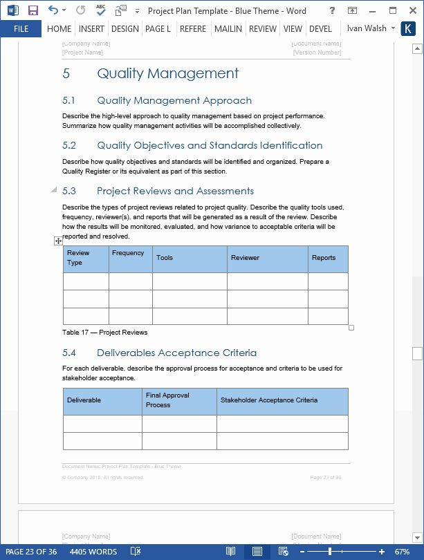 Project Management Plan Template In 2020 Word Template Project