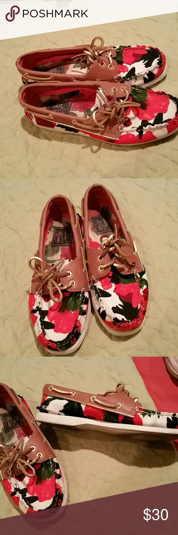 Molly for Sperry top sider moccasins Floral with gold piping and laces.Milly gold tag on laces Sperry Top-Sider Shoes Moccasins