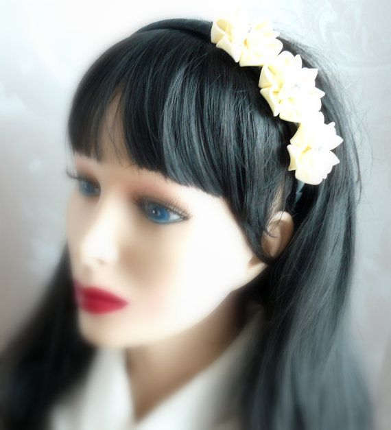 Ivory Kanzashi Fabric Flower headband.