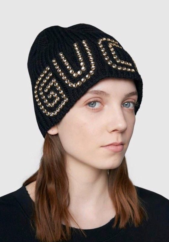 86a0bda9385 Womens GUCCI black Wool Knit Logo Crystal Embellished Winter Hat Beanie Cap  NEW  fashion  clothing  shoes  accessories  womensaccessories  hats (ebay  link)