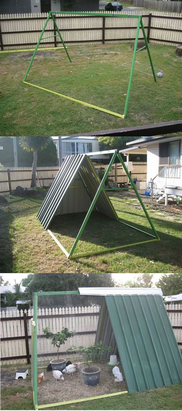 An Old Swing Set Frame Turned Into A DIY Chicken Coop… | http://www.ecosnippets.com/diy/swing-set-turned-into-chicken-coop/