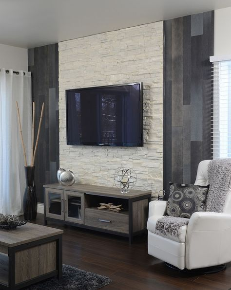 Gray wood cream colored stone delicious id e deco for Appartement deco cinema