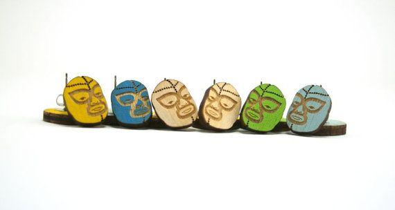 Luchador Mask Earrings  Handmade  Laser Cut by UnpossibleCuts