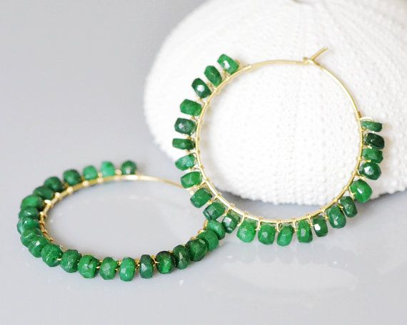 Emerald Hoop Earrings 14k gold filled wire by EmarcidOrchid