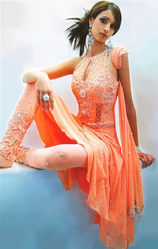 This peach color would be beautiful with silver embellishment.