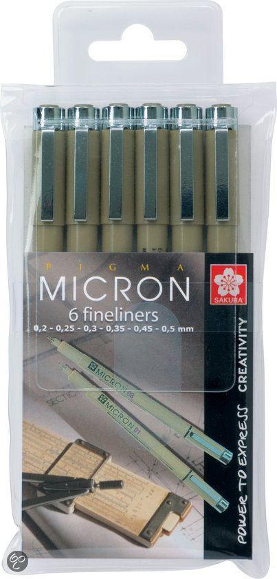 ✔ Sakura Pigma Micron Fineliners Zwart - 6 Stuks,Bruynzeel
