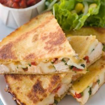 Cajun Chicken Quesadilla Recipe  (try with GF rice flour tortilla or even corn)