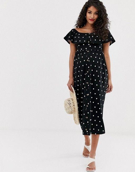 e2e43a0fad903c ASOS Maternity | ASOS DESIGN Maternity midi button through sundress with  tiered skirt in spot print