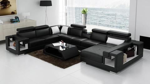 Living Room Sofa, U Shaped Leather Sofas, Black, Red, Orange, White Living  Room Sofa White NOFRAN Electronics U0026 Furnitures