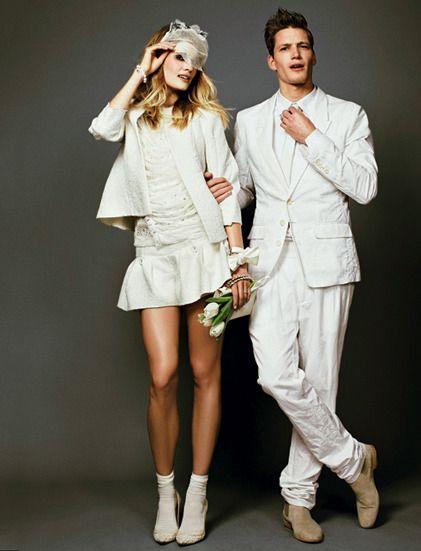 Just married ! On mélange les genres et les matières pour des tenues de mariés rock, tradi ou easy chic. En images » http://madame.lefigaro.fr/style/just-married-160112-207876