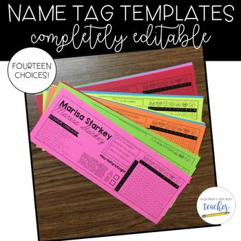 Name Tag Templates {Editable} These editable name tags are perfect for your classroom. You can choose from 14 different styles. Add any type of text to these names tags! The name tags include: Academic Language Sentence Frames CUBES Reference Guide Multiplication Table **The picture shows an example of my classroom name tags.