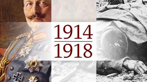 Die Themenseite der Ard zum 100. Jahrestag.  Kaiser Wilhelm II., toter Soldat, Schriftzug 1914 - 1918, Bildquelle: picture-alliance/dpa, Kombo: ARD.de