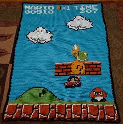 This free crochet afghan pattern is a superb rendering of the Super Mario video game that so many kids love.