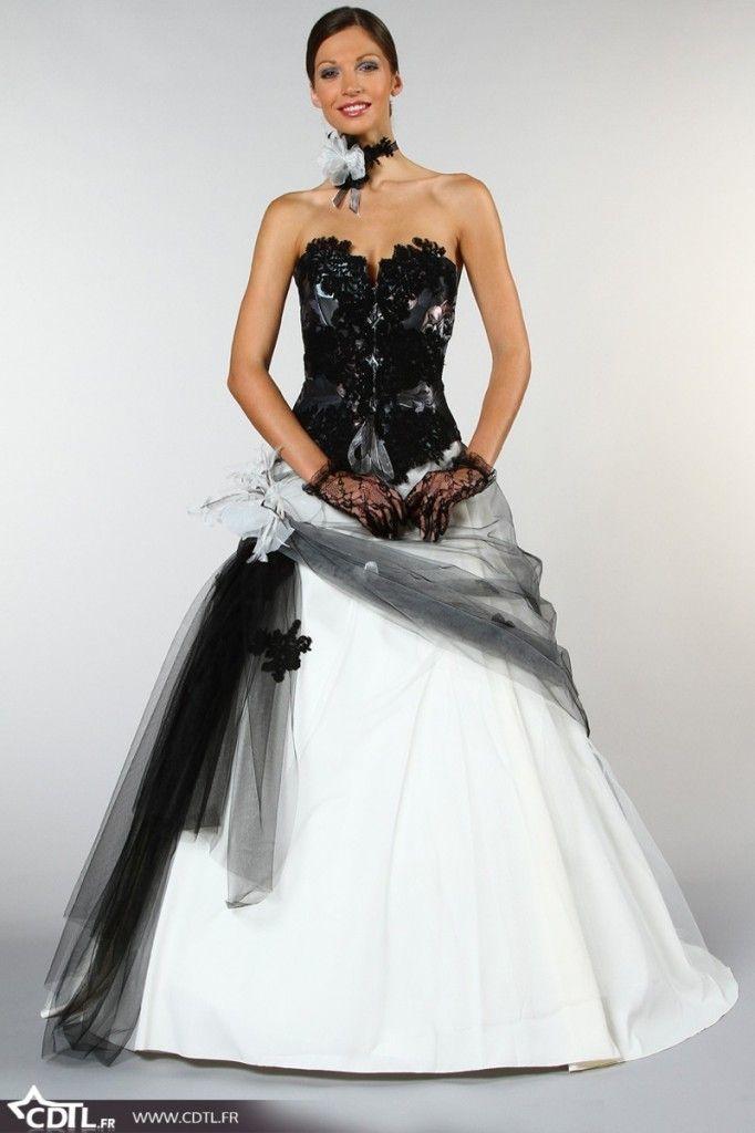 Robes de mariée en couleurs noir et blanc  belle robe de mariée ...