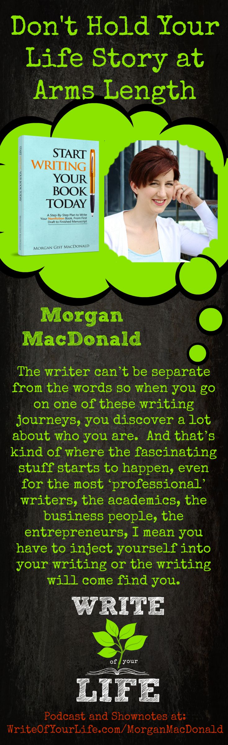 Sometimes it's hard for people to write from their own heart and soul. When you go on a writing journey, you discover a lot about who you are. When you reveal yourself, become vulnerable and show your passions, that's what makes it exciting for the reader and that's where the magic happens. Lifestory Toolkit: The Emotion Thesaurus. Free Download: Does Your Scrapbook Have a Story Arc and Behind the Scenes of Writing a Book. hhttp://www.writeofyourlife.com/morganmacdonald/