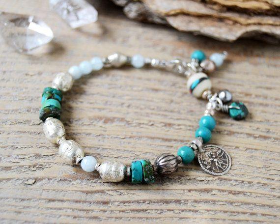 shiva yoga bracelet - yoga jewelry - turquoise and antique silver amulet bracelet - spiritual - ethnic