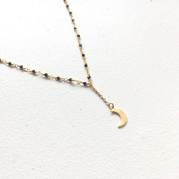Collier Lariat mini perles noires et pendentif croissant de