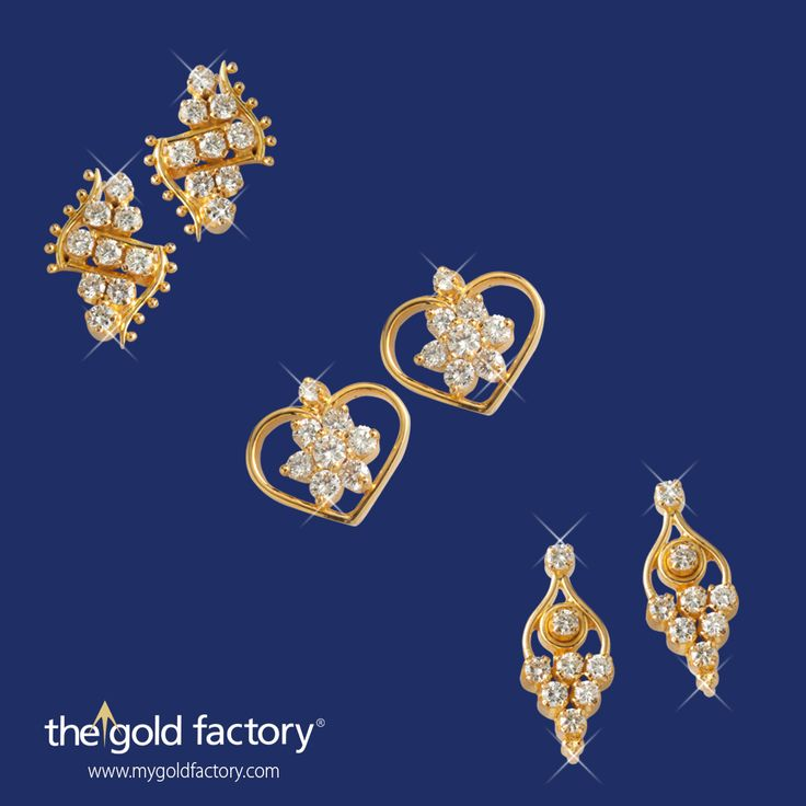 Dazzling diamonds set in darling designs in 18K hallmarked gold. Adorn your ears with our lovely jewellery and make a statement. Now available at fantastic prices till the end of the month, only at The Gold Factory.