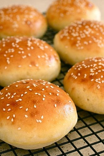 These are the best burger buns - brioche. I have made so many of these and sometimes I sprinkle dried onion flakes on top before baking! Yum!