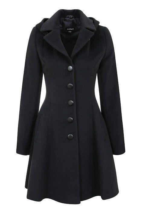 170 Расклешенное пальто с английским воротником и с капюшоном, черное