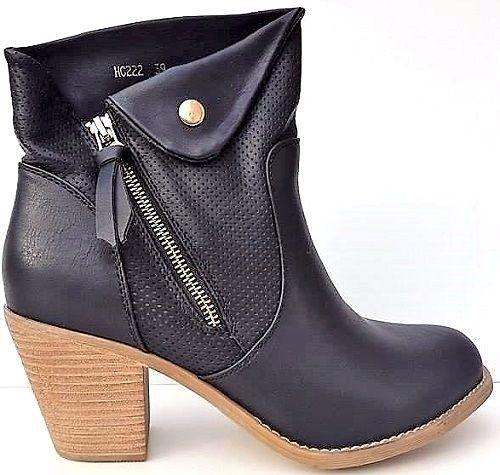 New Women's Cuban  Black  Ankle Boots Zip Mid Heel Cowboy Style