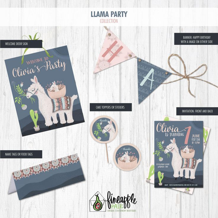 Llama Birthday Invite, Llama Birthday Invitation, Llama Girl Birthday, Llama Party Package, Llama Birthday Printable, DIY birthday, by FineapplePair on Etsy