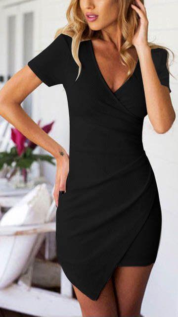 21 Chic Little Black Dress Styles // Asymmetrical little black dress with sleeves