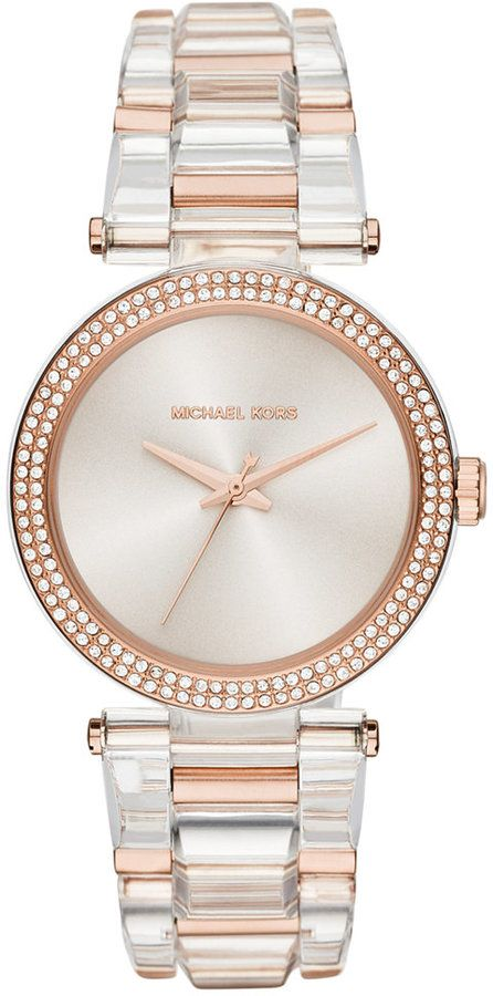 Michael Kors Women's Delray Two-Tone Stainless Steel and Acetate Bracelet Watch 36mm MK4318
