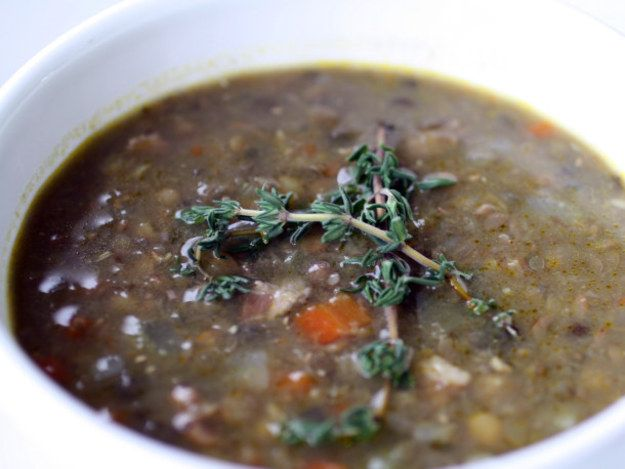 My favorite soup recipe, this lentil soup incorporates American brown lentils and French du Puy lentils in a broth flavored with carrot, shallot, celery, thyme, bacon, and butter.  It is light, but hearty and sweetly earthy.  If I could quadruple this recipe just for myself, I would.