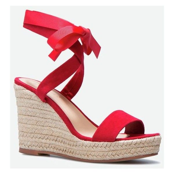 Justfab Wedges Dasha ($40) ❤ liked on Polyvore featuring shoes, sandals, red, red wedge shoes, high heel wedge sandals, red wedge sandals, espadrille sandals and wedge espadrilles