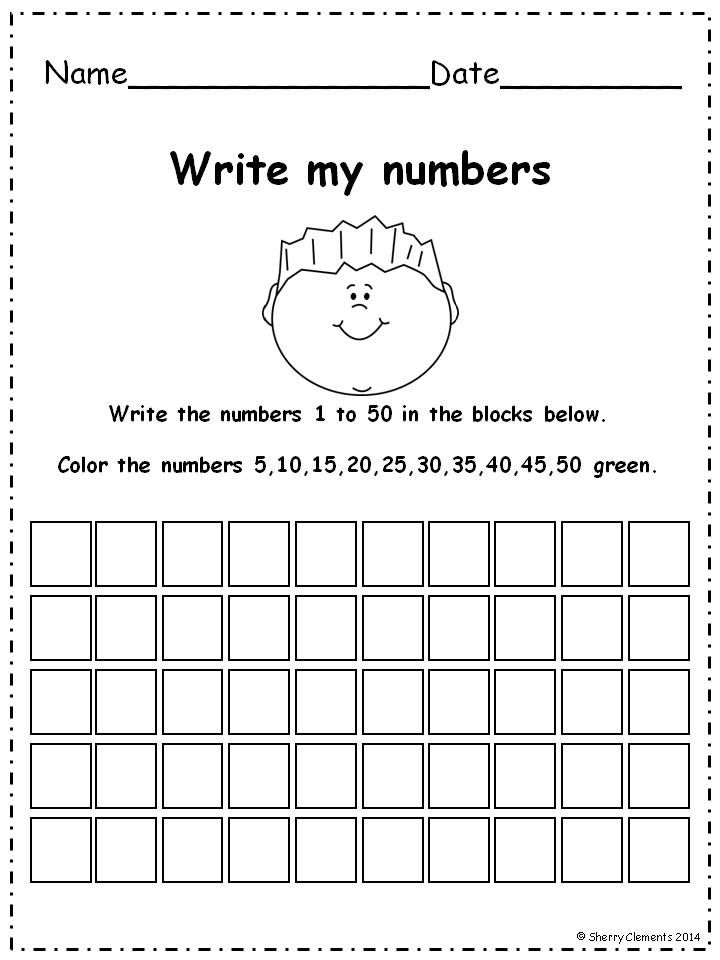 .Write numbers 1-50 pack and coloring or circling directed numbers to find patterns (even, odd, 3's, 5's, and more) 17 pages $