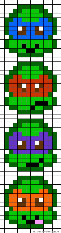 Party activity - TMNT perler bead pattern - could print and blow up pattern to put behind bead board.