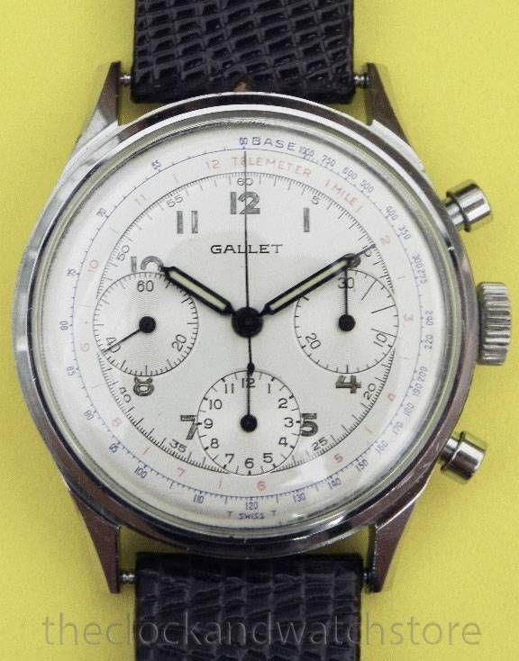 Vintage gallet 3 register chronograph wristwatch valjoux ...