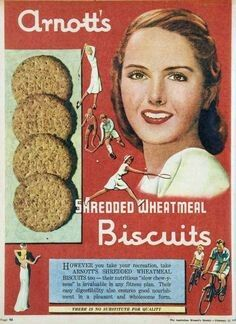Arnott's Shredded Wholewheat Biscuits ~ Australia 1949.