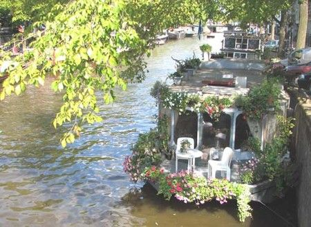 canal houseboat lifestyle, Amsterdam (Netherlands)