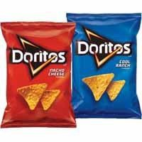 Doritos, I only love the cheezy one, there was a time we could eat the poppy one, it was white, but we don't get it anymore.