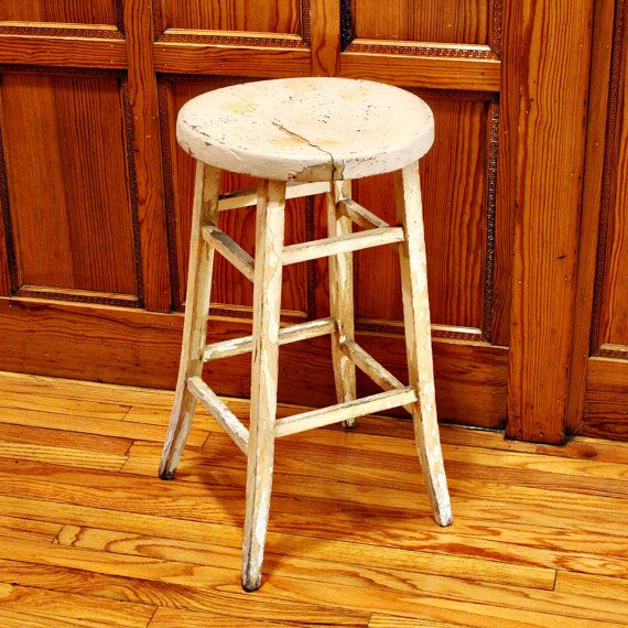 vintage wood stool bar stool shop stool chippy by