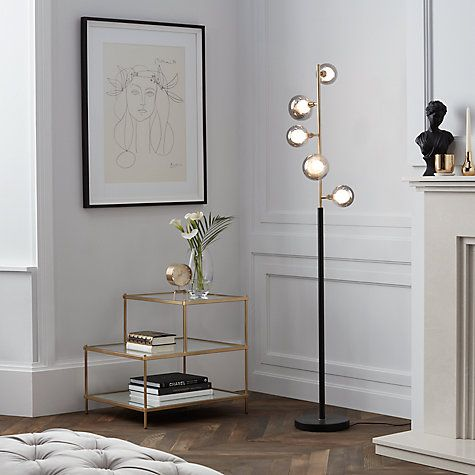 Buy John Lewis Huxley 5 Light Floor Lamp, Smoke / Antique Brass Online at johnlewis.com