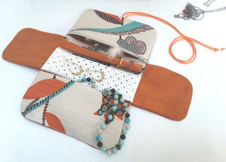 Pochette à bijoux de voyage en soies orange et turquoise, étui de rangement à bijoux, trousse à bijoux, pochette pliable, pochette de voyage