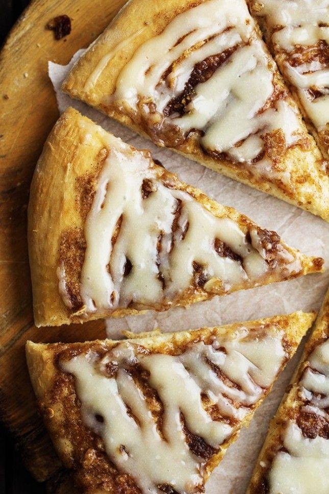 16 Dessert Pizzas That Are a Little Slice of Heaven via Brit + Co // Cinnamon Roll Dessert Pizza (via The Recipe Critic)