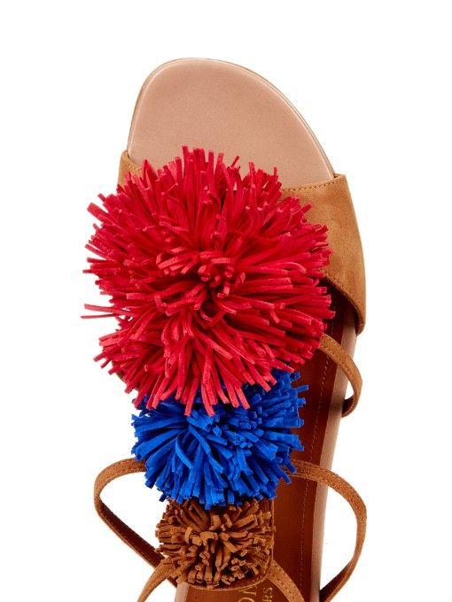 Мэлоун Souliers Sherry бахромой-помпон замша плоские сандалии